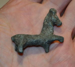 An appealing Celtic bronze votive horse figurine from Germany. SOLD